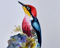 ORIGINAL Watercolor Bird Painting Hummingbird and by ArtCornerShop