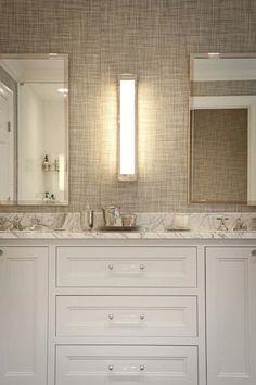 grasscloth, marble,   http://bathroom-designs-hailey.blogspot.com
