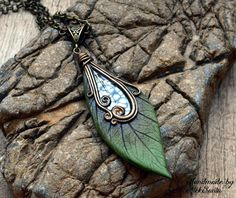 Leaf necklace Leaf pendant Leaf jewelry by HandmadeByAleksanta