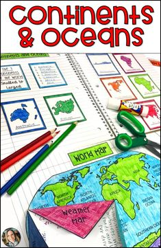 Maps, Continents and Oceans, Landforms, Map Skills Social Studies Projects, Social Studies Notebook, Social Studies Classroom, Teaching Social Studies, History Education, Teaching History, Teaching Resources, Teaching Ideas, World Map Continents