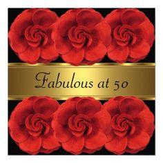 Invite Red Flowers Black Gold Fabulous 50th Invite
