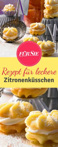 lemon kiss- Zitronenküsschen Our delicious baking recipe for lemon squash from fine sand-shortcrust pastry with butter cream filling. As Christmas cookies and for the cookie plate a treat. Lemon Recipes, Sweet Recipes, Baking Recipes, Cookie Recipes, Pastry Recipes, Bread Recipes, Christmas Biscuits, Christmas Baking, Christmas Cookies