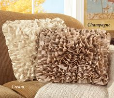 Decorative Satin Ruffle Accent Pillow Cover