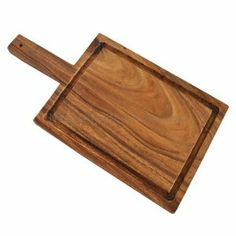 "Acacia Wood Carving / Cutting Board with Handle - 17.7"" by Naturally Med. $37.99. Board made from acacia wood. Carved from a single piece - not joined pieces of wood. This board measures 17.7"" length x 9"" width x 1"" thick. This board has a groove around the edge to catch juices created from carving meat, and a handle to help carry it or hang it by.. Please note: Photo is an example of the product, not the exact one sent. This stunning grain carving / serving board is ma..."