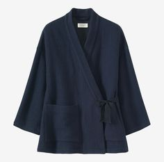 DOUBLE FACED WRAP JACKET   Italian-woven, indigo-dyed, double faced, boiled wool blend fabric. Dropped shoulders. Wide cropped sleeves. Cotton herringbone ties to fasten - inside and out. Split hem. Two patch pockets. One internal pocket.