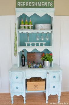Hutch and Desk Transformed to a Beverage Station/Potting Bench