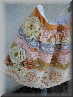 Lace Fabric Bag shabby n chic soft handmade by TatteredDelicates. $40.00, via Etsy.