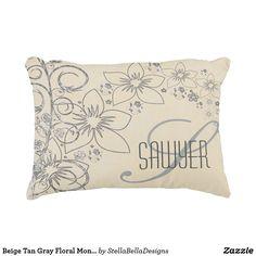 Beige Tan Gray Floral Monogram Name Accent Pillow #pillow #homedecor #tan #gray #monogram #monogrampillow #name #custompillow #accentpillow #bedding #livingroom #floral #gray #vintage #zazzle