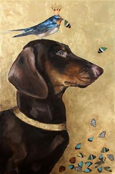 "Clair Hartmann ""King Martin"" Mixed media [Noble Brown and Tan Dachshund, Barn Swallow, Purple Martin with Butterfly Wings, Metal Leaf, Imaginary Original Painting] Dog Paintings, Original Paintings, Le Chihuahua, Gato Animal, Fantasy Magic, Dachshund Art, Daschund, Dachshund Puppies, Weenie Dogs"