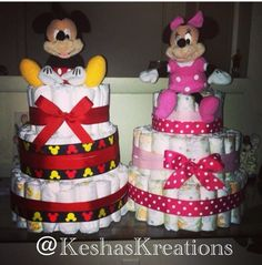 Mickey & Minnie Mouse Diaper Cake