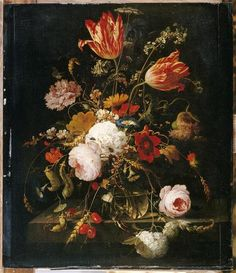 Abraham Mignon  Title	FLOWERS IN A CRYSTAL DECANTER WITH A BRANCH OF PEAS AND A SNAIL  Period creation / execution	Second half 17th century  Location of records	Paris, the Louvre