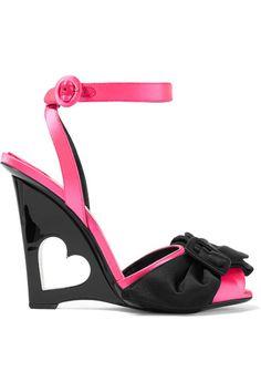 Prada - Bow-embellished Satin Wedge Sandals - Pink - IT Pink Wedge Sandals, Red Wedge Sandals, Pink Wedges, Strappy Sandals Heels, T Strap Sandals, Strap Heels, Wedge Heels, Ankle Strap, Flats