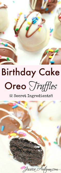 Birthday Cake Oreo Truffles {2 Secret Ingredients}. Most Oreo balls have a strong cream cheese taste.  But the two secret ingredients in these truffles leave it with a cheesecake flavor.  I don't know about you, but cheesecake is much better than cream cheese. Amazing recipe!