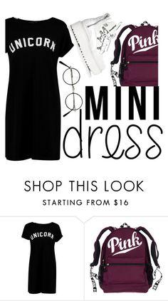 """mini dress"" by aysenur-odemis ❤ liked on Polyvore featuring Boohoo, Puma, Pink, dress, mini and unicorn"