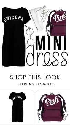 """mini dress"" by aysenur-odemis ❤ liked on Polyvore featuring Boohoo, Puma, Pink, dress, mini and unicorn"