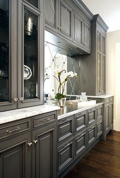 charcoal grey cabinets- add outer molding to our cabinet doors before painting