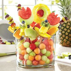 Fruit arrangement in the Pampered Chef trifle bowl. For more recipes follow me: https://www.facebook.com/CookingwithYvette/
