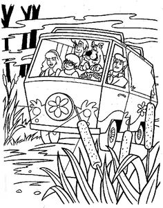 scooby doo mystery machine van coloring page - Scooby Doo Colouring Pictures To Print
