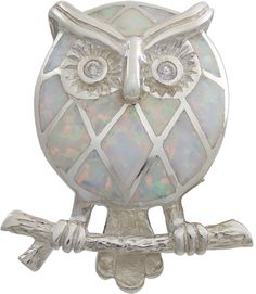 Opal Resin Owl Brooch