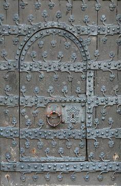 Door with metal ornamentation.