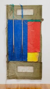 Don Driver.  Two pitchforks. Date:      1981  Medium:      pitchforks, galvanised iron, cotton, plastic, canvas  Accession Number:      1982/30.1-3  Credit:      Auckland Art Gallery Toi o Tāmaki, purchased 1982