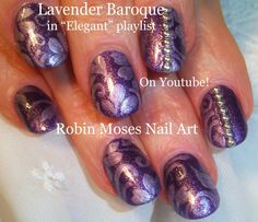 Nail Art Tutorial | DIY Elegant Fall Nails | Purple Baroque Filigree