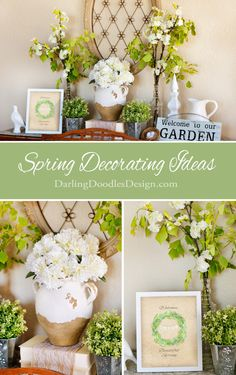 Elegant greenery and white accessories add the perfect touches for decorating a spring mantle