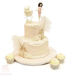 Great Gatsby Themed Baby Shower Cake by Pink Cake Box in Denville, NJ.  More photos and videos at http://blog.pinkcakebox.com/great-gatsby-themed-baby-shower-cake-2013-11-15.htm