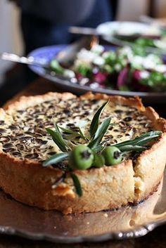 Quiche - similar looking recipe: http://www.foodandwine.com/recipes/over-the-top-mushroom-quiche