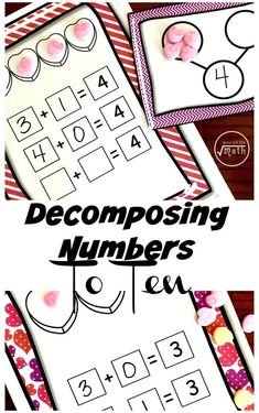 Grab your conversation hearts for manipulatives and have some fun with these decomposing numbers to 10 worksheets. By using different colors of the number bond printable, children will figure out the decomposition of numbers less than 10.