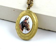 Horse Locket Necklace Horse Necklace by laurenblythedesigns, $28.00