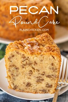 Pecan Pound Cake - delicious southern pound cake made from scratch! LOADED with pecans! Can make in advance and store in an air-tight container or eve. Hazelnut Cake, Pecan Cake, Mini Cakes, Cupcake Cakes, Bundt Cakes, Cupcakes, Pond Cake, Southern Pound Cake, Whipped Cream
