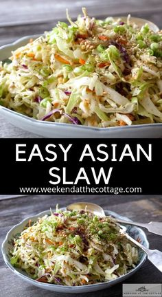 A quick salad recipe that you can whip up in minutes.Nik's famous Easy Asian Slaw recipe. We start with a package of prepared coleslaw, toast some sesame seeds and then Read Quick Salad Recipes, Lunch Recipes, Vegetarian Recipes, Healthy Recipes, Asian Slaw Recipes, Breakfast Recipes, Asian Coleslaw Dressing, Asian Slaw Salad, Chopped Salads