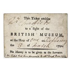Ticket to enter the British Museum 1790
