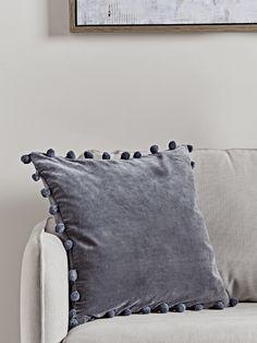 NEW Velvet Pom Pom Cushion - Dark Grey - Luxury Cushions - Soft Furnishings Cute Cushions, Luxury Cushions, Velvet Cushions, Decorative Cushions, Grey Throw Pillows, Interior Rugs, Pillow Sale, Soft Furnishings, Pillows
