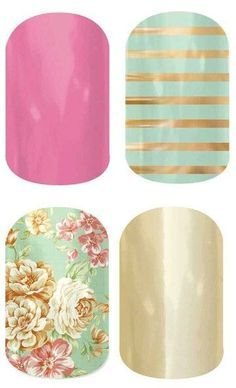 Clockwise from top left: Haute Pink, Mint Green & Gold Stripe, Mirror Metallic Gold, Vintage Chic