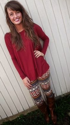 Fall red blouse and tribal leggings fashion style