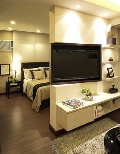rotate the tv! How cool, have a special tv place in the room!!