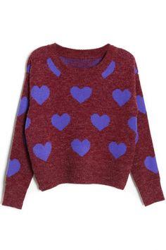 Chic Heart Print Sweater