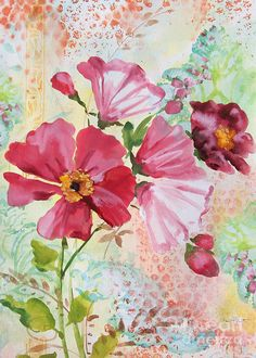 Watercolor Painting Print featuring the painting Garden Beauty-jp2954 by Jean Plout