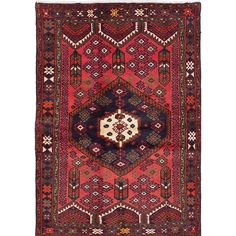ECARPETGALLERY Hamadan Hand-Knotted Red Area Rug