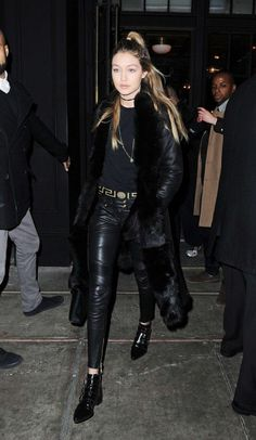 Splurge: Gigi Hadid's New York City Kenneth Cole Black Shearling Coat, Supertrash Black Charlie Buckle Boots, and Saint Laurent Black Monogram Leather Shoulder Bag
