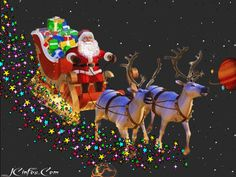 Christmas - Santa Claus flies through the sky in his sleigh. [GIF]