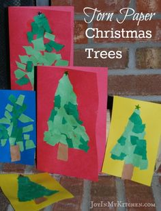 Torn Paper Christmas Trees are an easy Christmas craft for kids. They make beautiful handmade cards.
