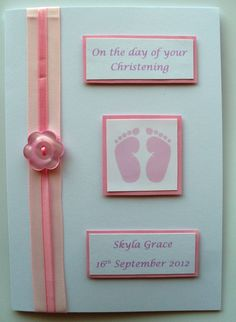 "Baby Card # 36 - Foot Prints/ Buttons. Pictured Card Size 4"" x 6""."