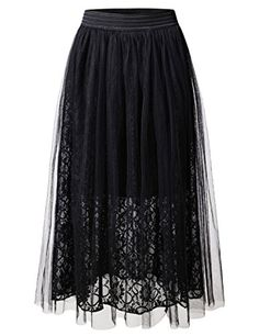 NEARKIN (NKNKWLSK61) Lady Petticoat TuTu Organza Floral laced Midi Skirt BLACK US XL(Tag size XL) *** Click here for more details @
