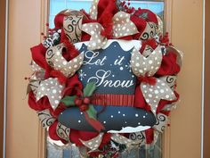 berlap christmas wreaths | Red Burlap Let it Snow Holiday Wreath by DecoDzigns on Etsy