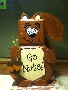 Nutty Squirrel By Family Affair Painted Bricks Crafts, Brick Crafts, Painted Pavers, Brick Projects, Crafty Projects, Painted Rocks, Summer Crafts For Kids, Fall Crafts, Brick And Stone