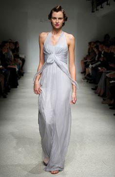 Amsale Dove Color Chiffon Bridesmaid Dress