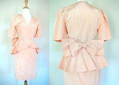 Vintage Peach Peplum Suit by VolereVintage on Etsy, $85.00